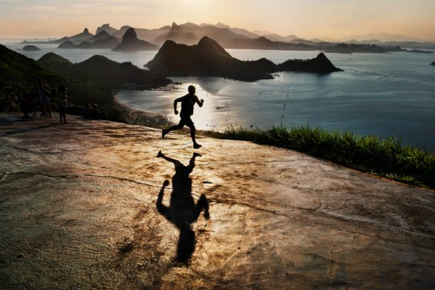 man running at dawn