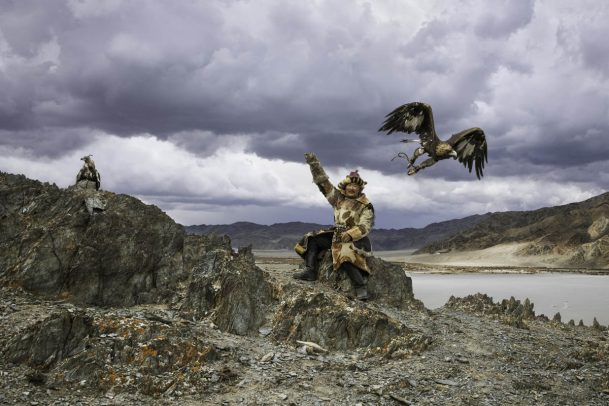 man with his eagle