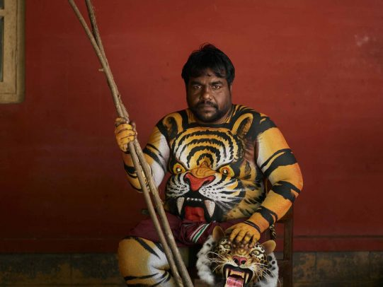 man painted with color of a tiger and tiger's face on his belly