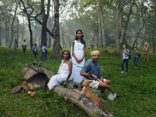 Three people in a forest in traditional indian dresses for Kerala Tourism Campaign by Joey L.