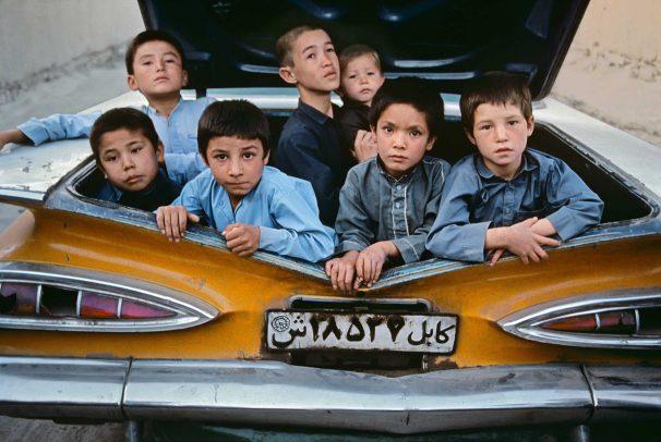 Children in a car in Kabul