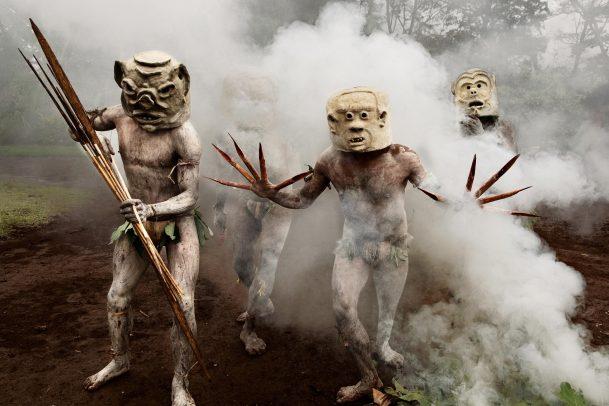 Celebration with masked men