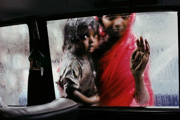 Mother and child at a car window