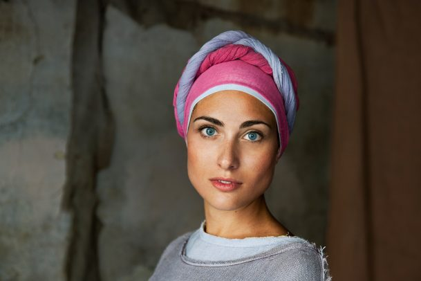 woman with pink turban