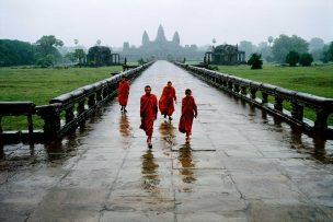Monks in the rain