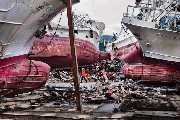 Shipwrecked ships at Kesennuma