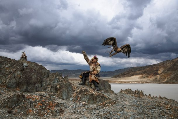 mongolian man with his eagle