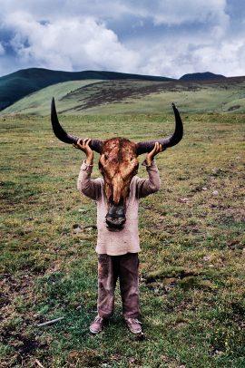 tibetan boy with a skull of a ox