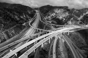 Aerial view of a highway