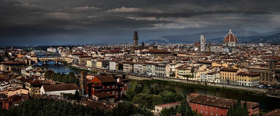 Cityscape of Firenze with Santa Maria Novella Palazzo Vecchio and Arno