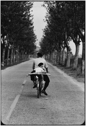 a boy on the bicycle with his grandpa in a tree-line street