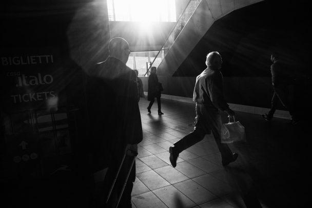man running at Termini station