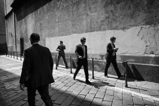 men walking in the street