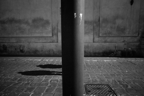 lamppost with two shadows