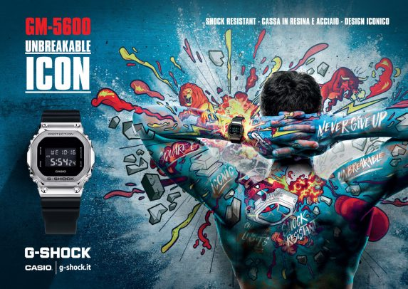 casio advertising with a man covered in colored drawings