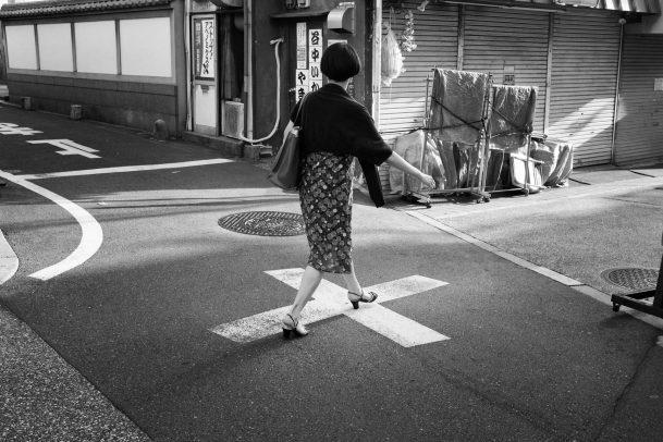 lady walking in the street