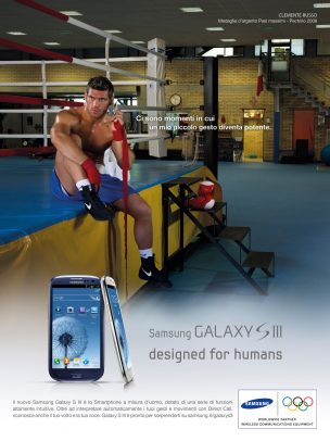 Samsung advertising with Clemente Russo training on the ring