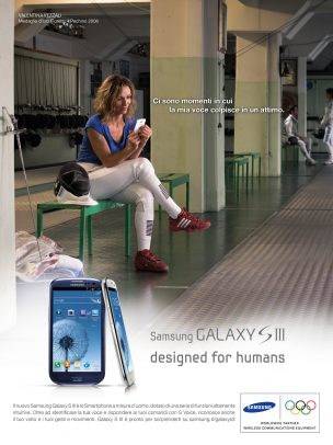 Samsung advertising with Valentina Vezzali at the gym