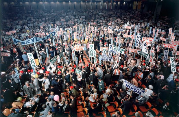 crowd at Nixon politcal meeting