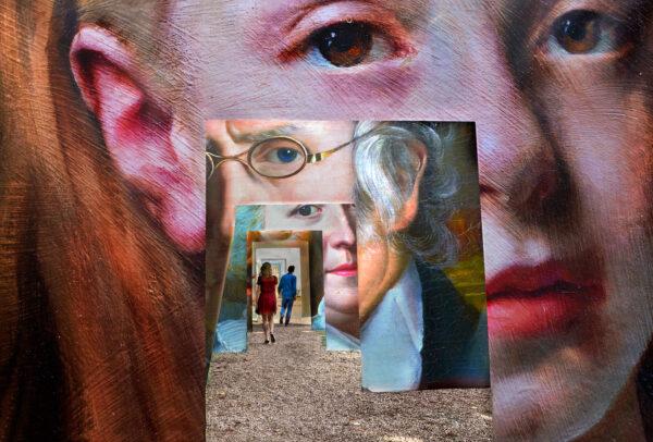 art installation with portraits