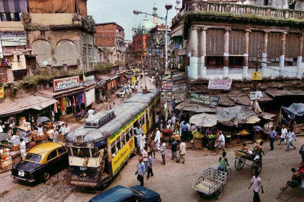 Traffic with tram in calcutta
