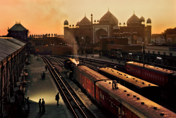 Agra, India, train station and platforms at dusk