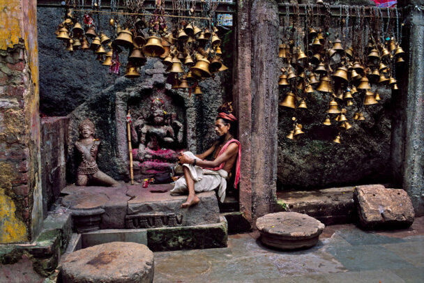 Indian man with many bells