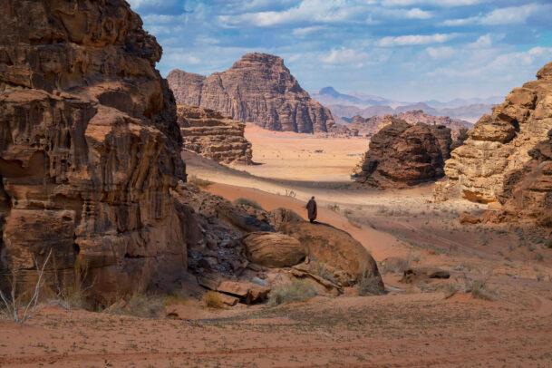 man in wadi rum in Jordan