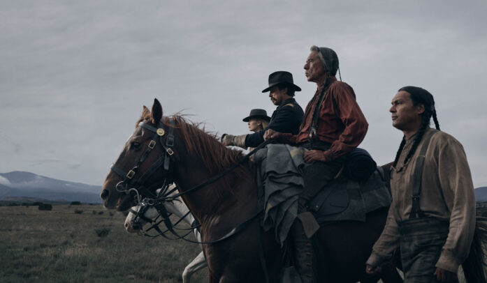 Christian Bale, Rosamund Pike, Wes Studi, and Adam Beach riding horses for HOSTILES film