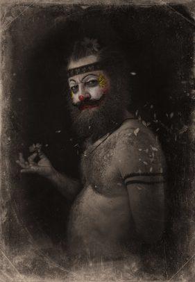 horror clown and petals