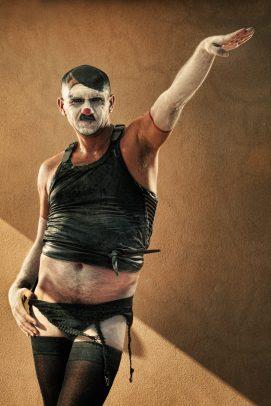 horror clown with garter belt