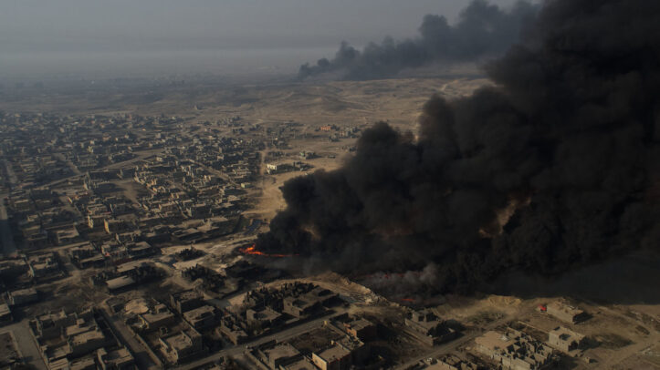 black smoke from a fire in Iraq