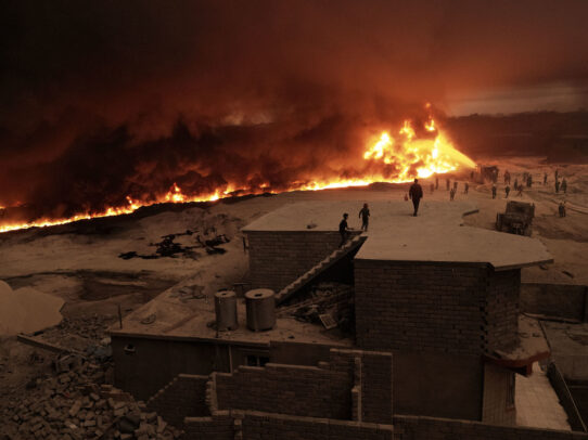 a great fire of the oil well in Iraq