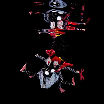 Clown laughing underwater