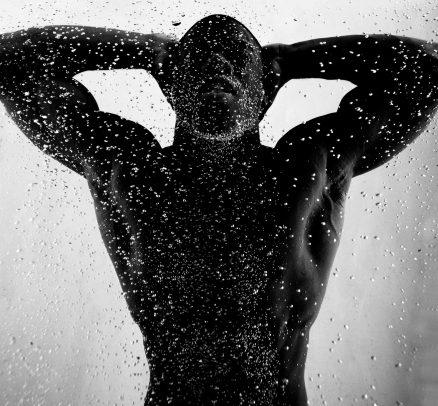 male silhouette underwater