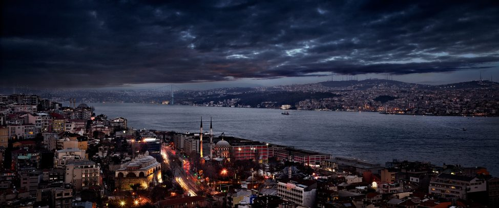 landscape of the Bosphorus at dusk