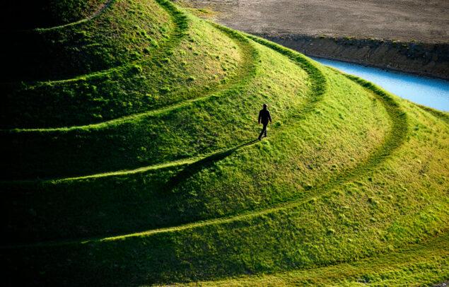 Man Walks on Crawick Multiverse. Scotland