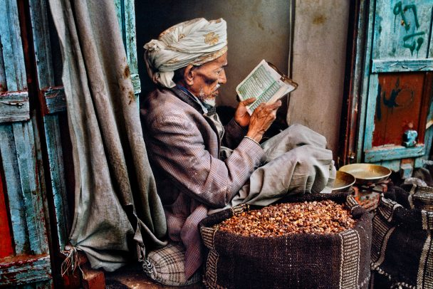 Man reading in Sana'a, Yemen