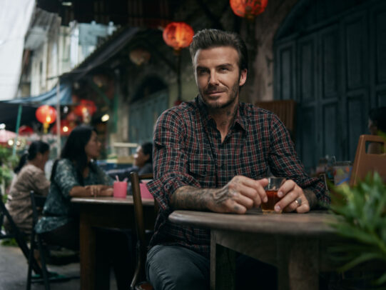 David Beckham at table by Joey L