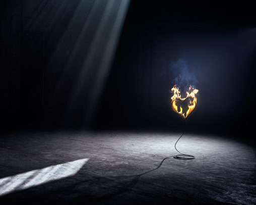 a heart shaped wire on fire