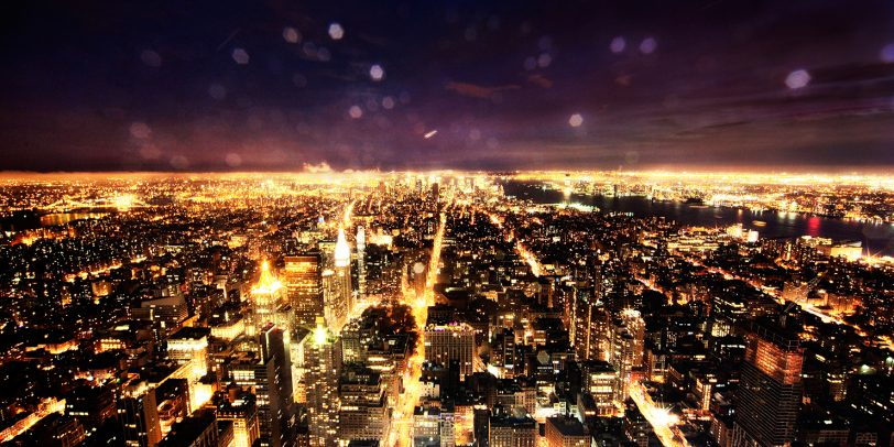 aerial view of new york at night with rain