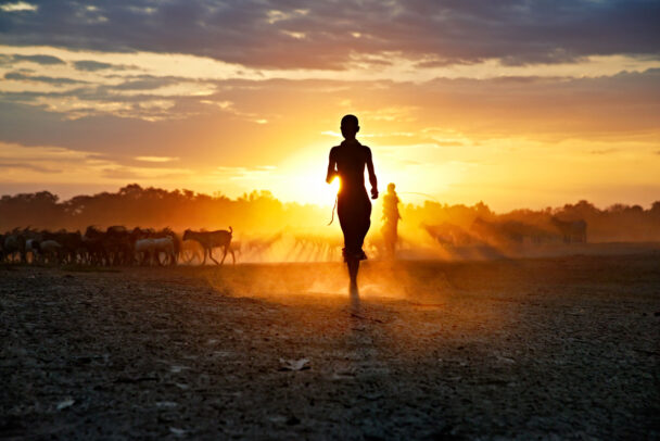 children running at sunset