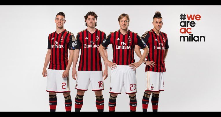 AC Milan advertising with Mattia De Sciglio Riccardo Montolivo Stephan El Shaarawy and