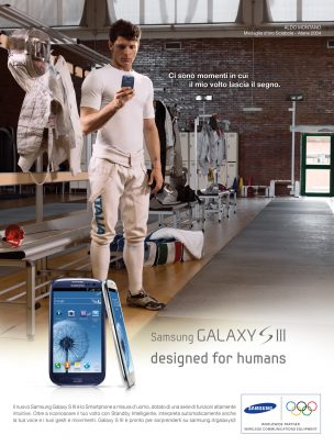 Samsung advertising with Aldo Montano