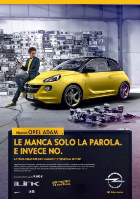 Opel advertising with Valentino Rossi sit on the front of the car