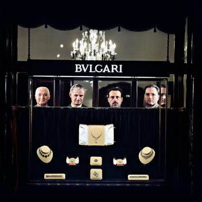 Bulgari jewelry store with head of four men