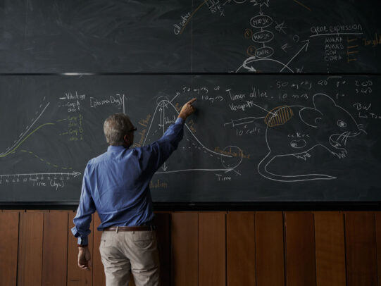 a professor indicating the board with charts during Novartis annual report by Joey L.
