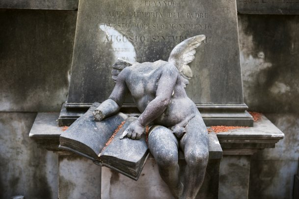 Statue of angel in cemetery