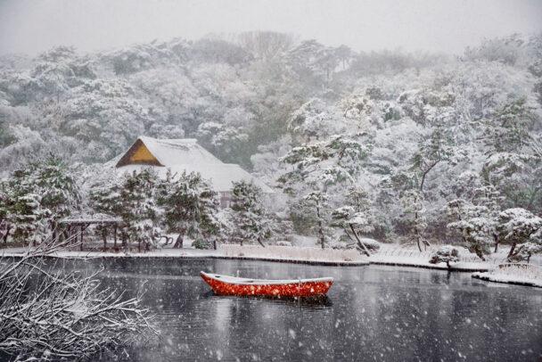 Boat Covered in Snow in Sankei-en Gardens