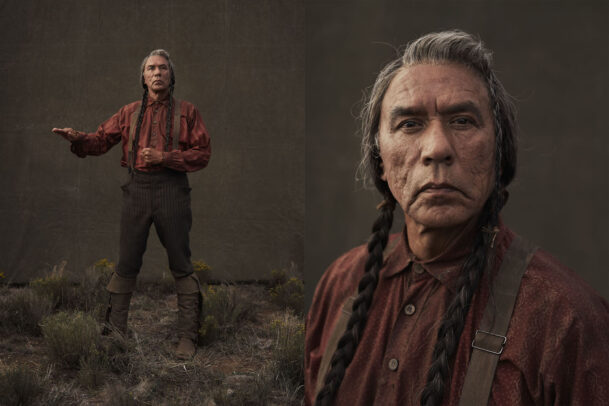 Wes Studi on the set of HOSTILES